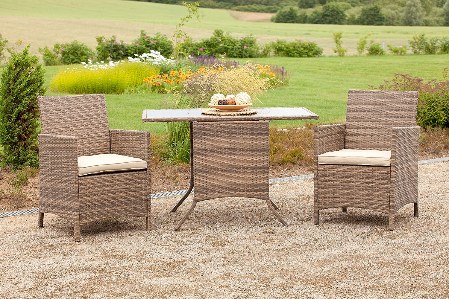 merxx balkonset treviso 2 sessel 1 tisch rattan gelflecht gartenm bel savanna grau gartenstuhl. Black Bedroom Furniture Sets. Home Design Ideas