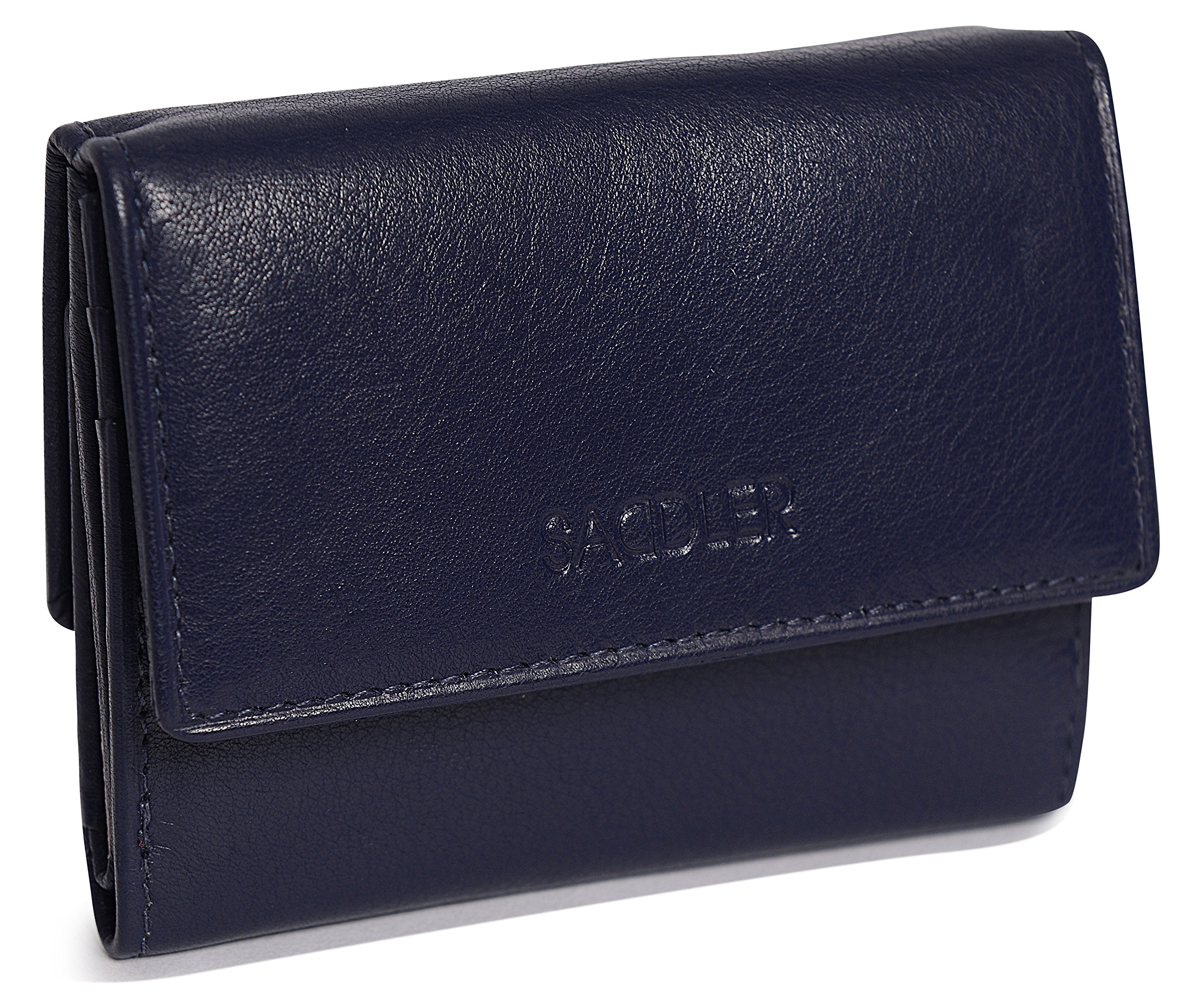 SADDLER Womens Real Leather Compact Double Flap Wallet Coin Purse - Peacoat Blue