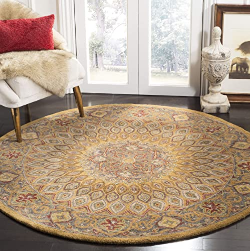 Safavieh Heritage Collection HG914A Handcrafted Traditional Oriental Light Brown and Grey Wool Round Area Rug 6' Diameter