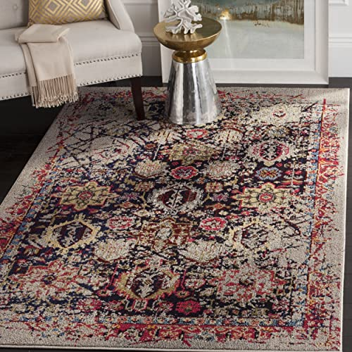 Safavieh Monaco Collection MNC206G Modern Abstract Oriental Grey and Multi Distressed Area Rug 8 x 10