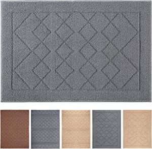 "Indoor Doormat 24""x 36"" Absorbent Front Door Mat Rubber Backing Non Slip Door Mats Inside Dirt Trapper Mats Entrance Front Door Rug Shoes Mat Machine Washable Carpet (Grey Large Squares)"
