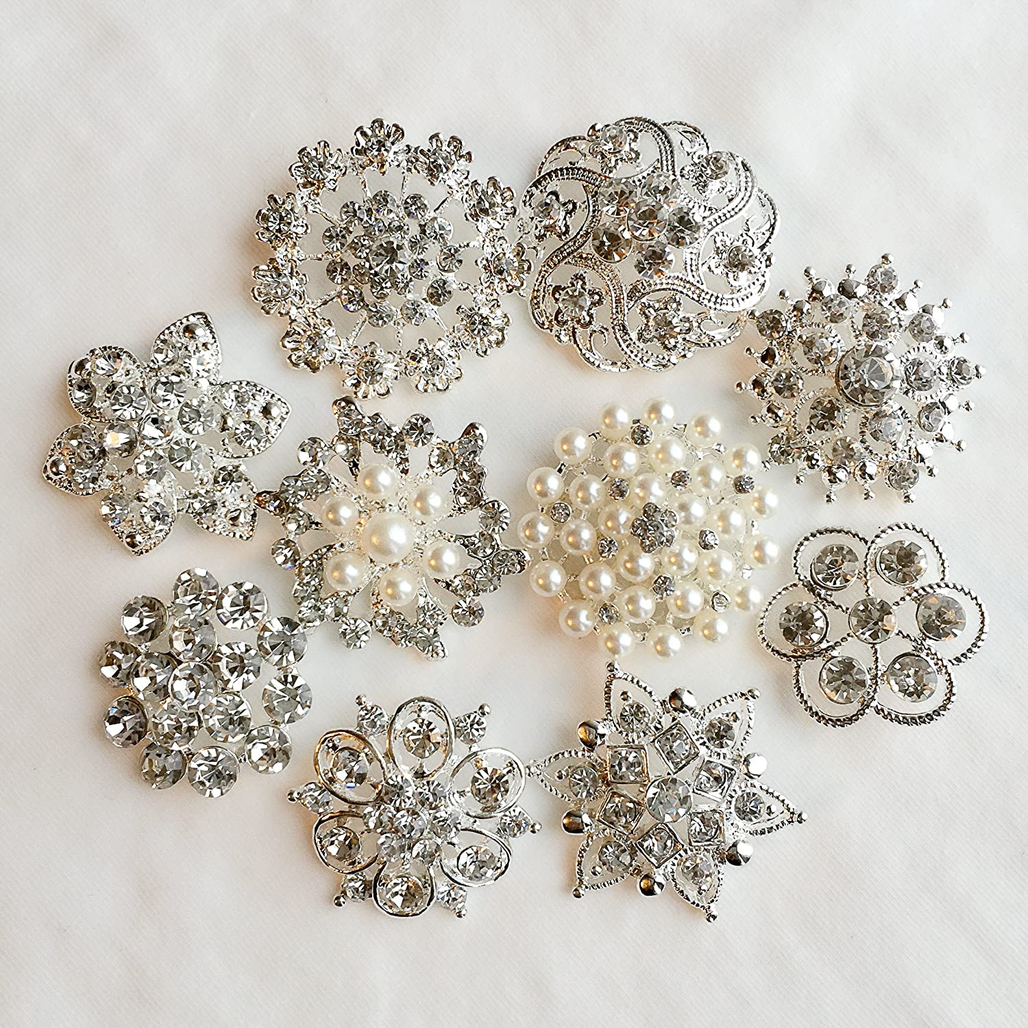 10 Pieces Large Oval Pearls Rhinestones Silver metal Buttons Bridal Accessory.