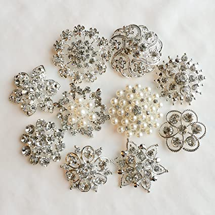 Image Unavailable. Image not available for. Color  10 pcs Assorted Rhinestone  Buttons Brooch Embellishment Set Pearl Crystal Wedding ... 3bd2488f56bd