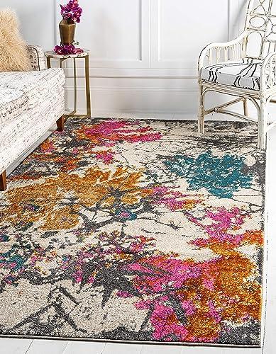Best living room rug: Unique Loom Aurora Collection Abstract Botanical Vintage Beige Area Rug 10' 0 x 13' 0