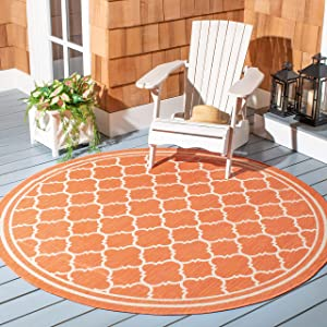 "Safavieh Courtyard Collection CY6918-241 Terracotta and Bone Indoor/ Outdoor Round Area Rug (6'7"" Diameter)"
