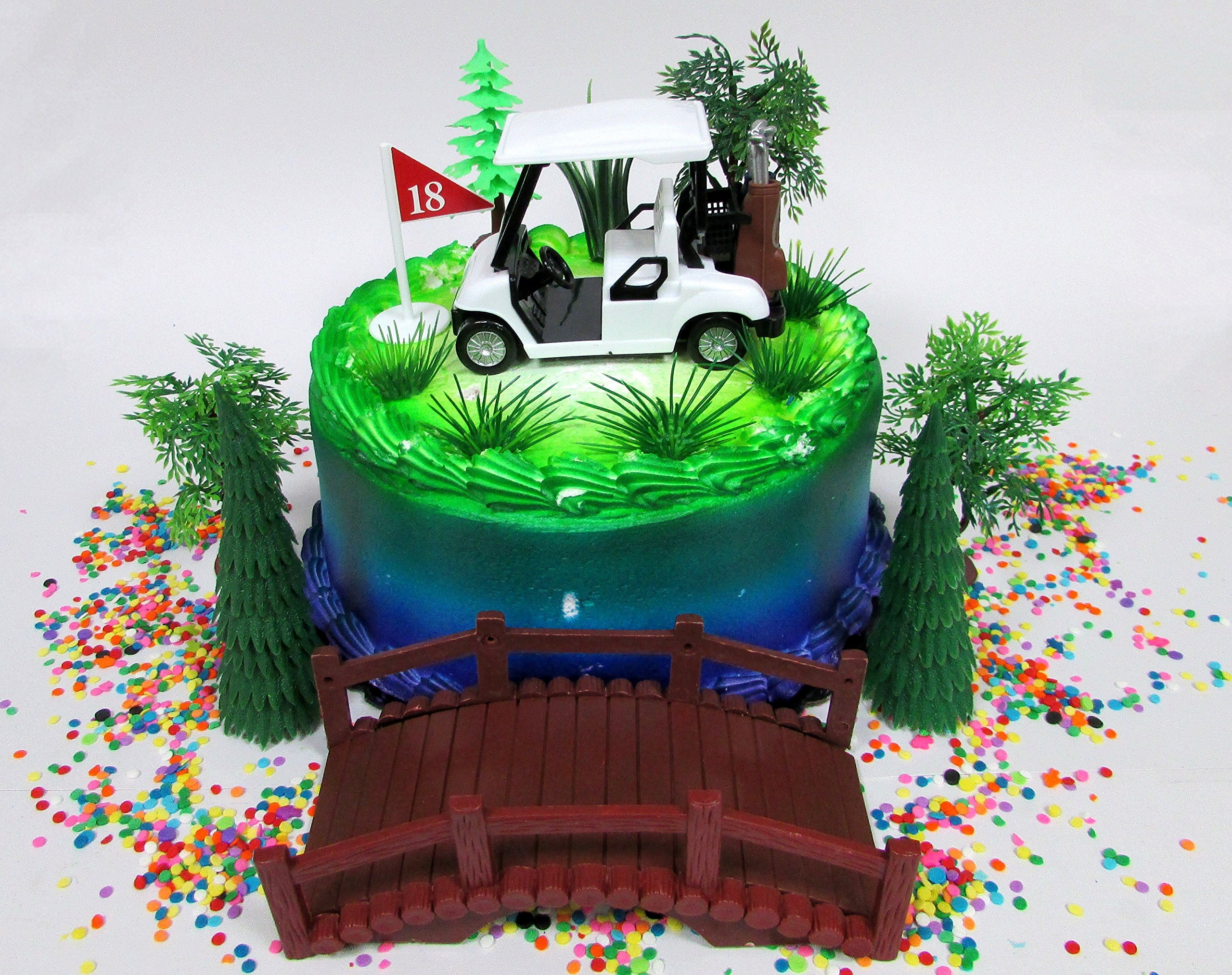 Golfing Themed 12 Piece Golfer Birthday Cake Topper Set Featuring Golf Cart and Decorative Themed Accessories