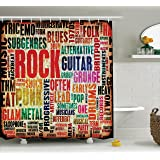 Ambesonne Music Decor Shower Curtain Retro Rock And Roll Symbol Lettering In Grunge Distressed Colors
