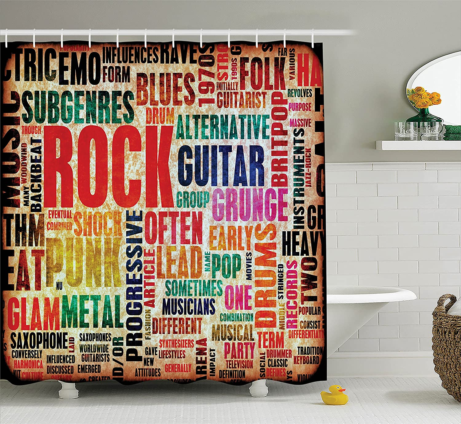 Ambesonne Music Decor Shower Curtain Retro Rock And Roll Symbol Lettering In Grunge Distressed Colors Back Then Sound Theme Fabric Bathroom Set With Hooks