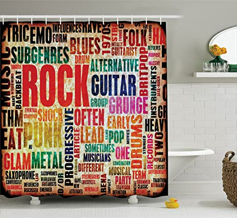 Music Decor Shower Curtain By Ambesonne Retro Rock And Roll Symbol Lettering In Grunge Distressed