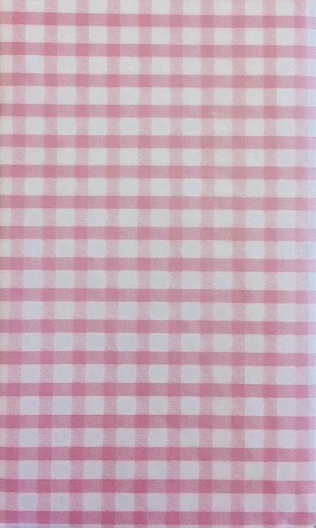 Gingham Check Vinyl Flannel Back Tablecloth (Pink, 60u0026quot; ...