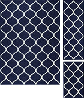 product image for Maples Rugs Rebecca Contemporary Area Rugs Set for Living Room & Bedroom [Made in USA], 3pc, Navy Blue/White