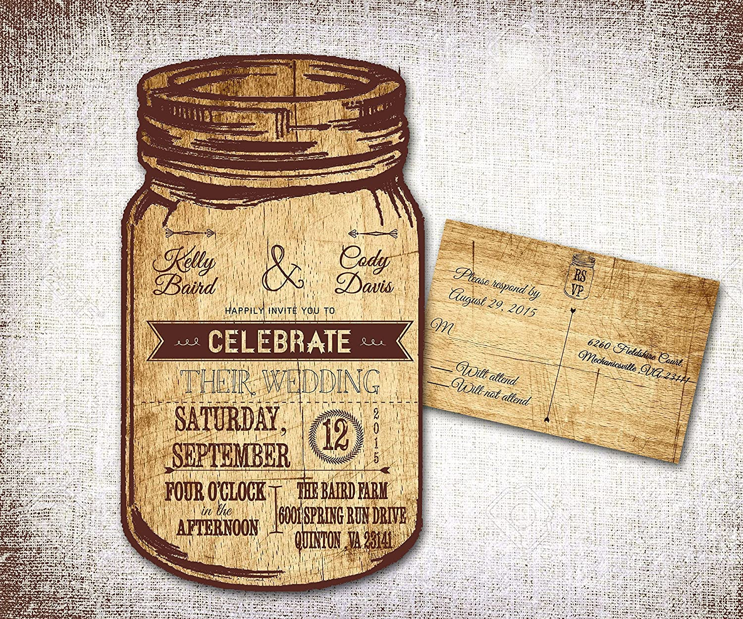 Personalized Wedding Invitations.Mason Jar Wedding Invitations Rustic Wedding Invitations Country Wedding Invitations Western Wedding Invitations Personalized Wedding Invitations
