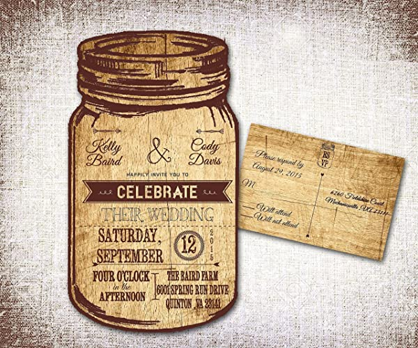 Mason Jar Wedding Invitations Rustic Wedding Invitations Country Wedding Invitations Western Wedding Invitations Personalized Wedding Invitations