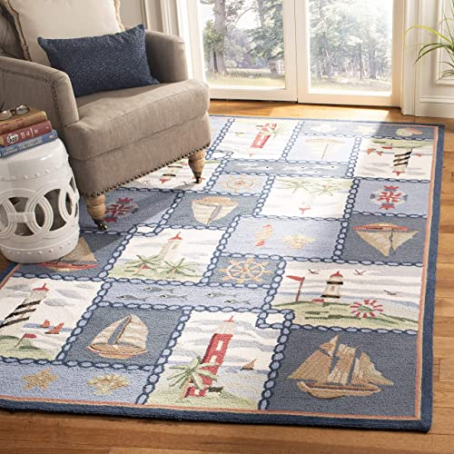 Safavieh Chelsea Collection HK267A Hand-Hooked Blue Premium Wool Area Rug 8 9 x 11 9