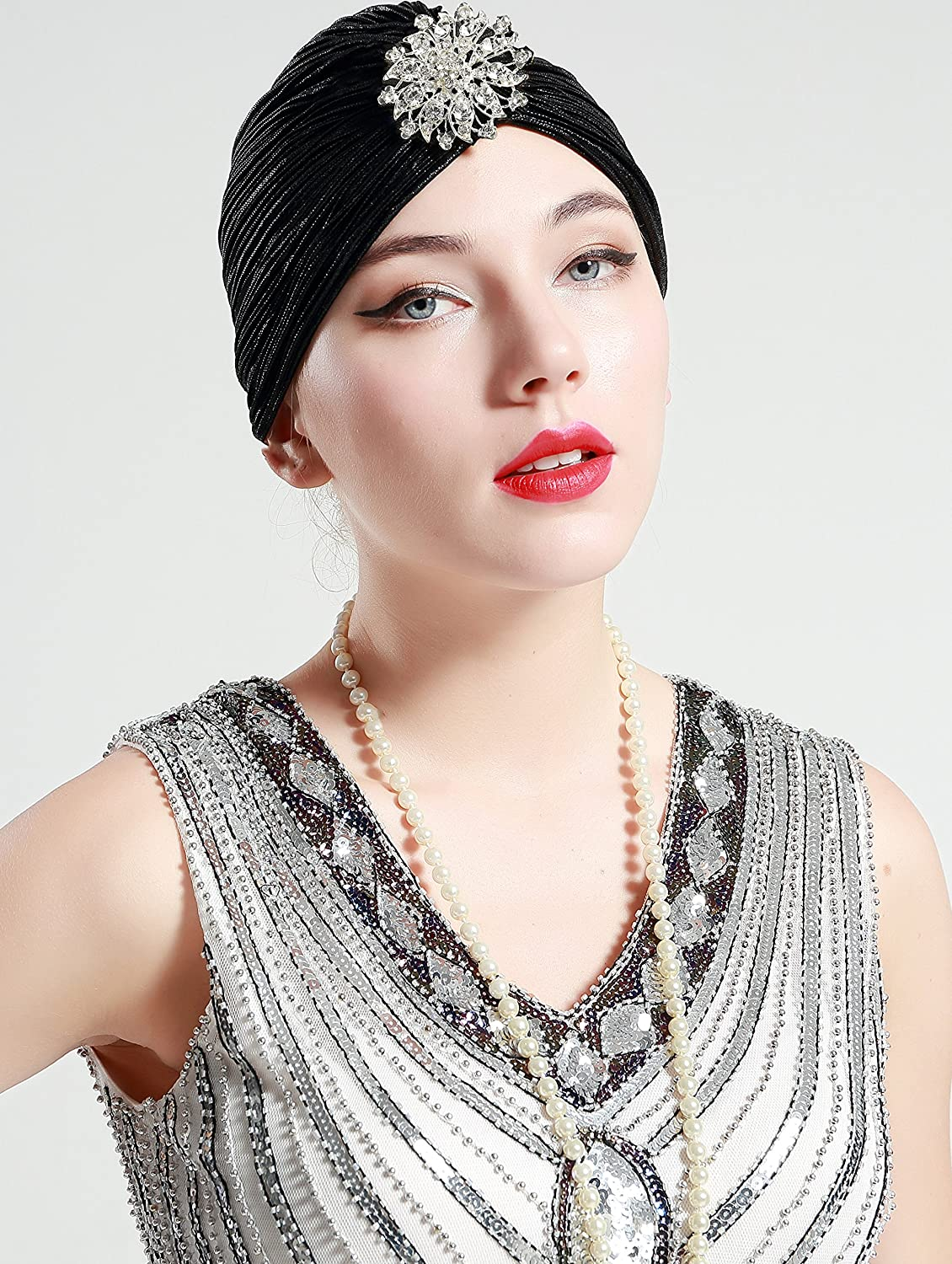Vintage Hair Accessories: Combs, Headbands, Flowers, Scarf, Wigs BABEYOND Womens Ruffle Turban Hat Knit Turban Headwraps with Detachable Crystal Brooch for 1920s Gatsby Party $11.99 AT vintagedancer.com