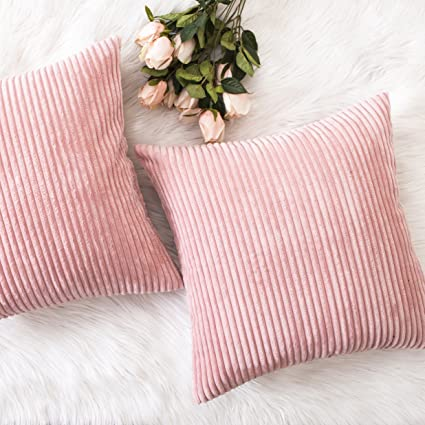 Amazon.com: HOME BRILLIANT Pillow Covers Decor Supersoft Striped ...