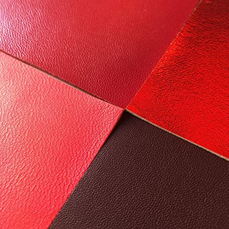 CHERRY red leather Textured burgundy skin Gold metallic 5x5 inch DIY scrap pack Genuine leather pre cut sheets Real leather piece for sewing