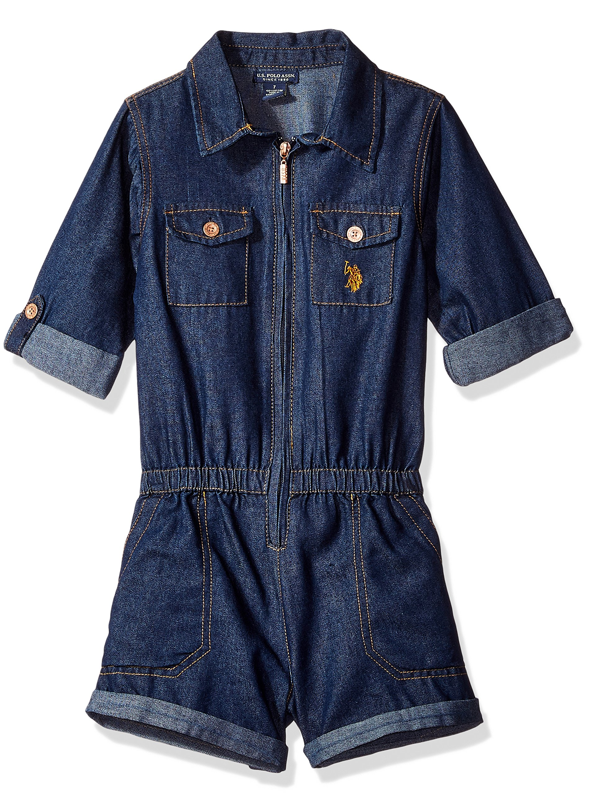 U.S. Polo Assn. Big Girls' Dark Blue Denim Romper, Dark Wash, 8