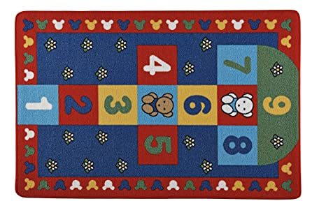 Amazon.com: Adgo Kids Collection Anti Bacterial Rubber Backed Non Slip Red Frame with Multi Colors Kids Childrens Educational Hopscotch Area Rug (5 x 7, ...