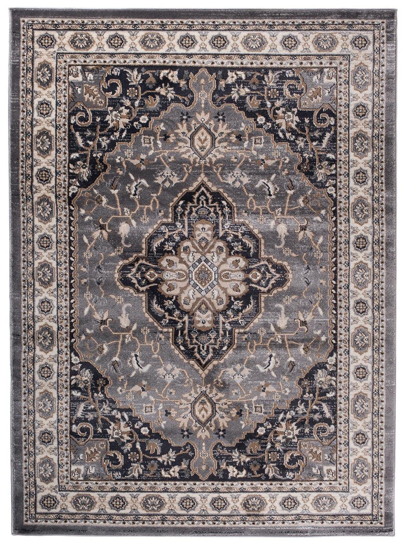 Traditioneller Traditioneller Traditioneller Klassischer Teppich für Ihre Wohnzimmer - Grau Beige Creme - Perser Orientalisches Heriz Keshan Muster - Blumen Ornamente - Top Qualität Pflegeleicht