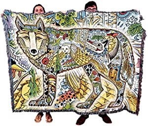 Wild Wolf Blanket, Native American Style Colorful Animal Throw Blanket, Pacific Northwest Totem by Sue Coccia – Woven Wolf Large Soft Comforting w/ Cotton Fringe (72x54) Made in USA