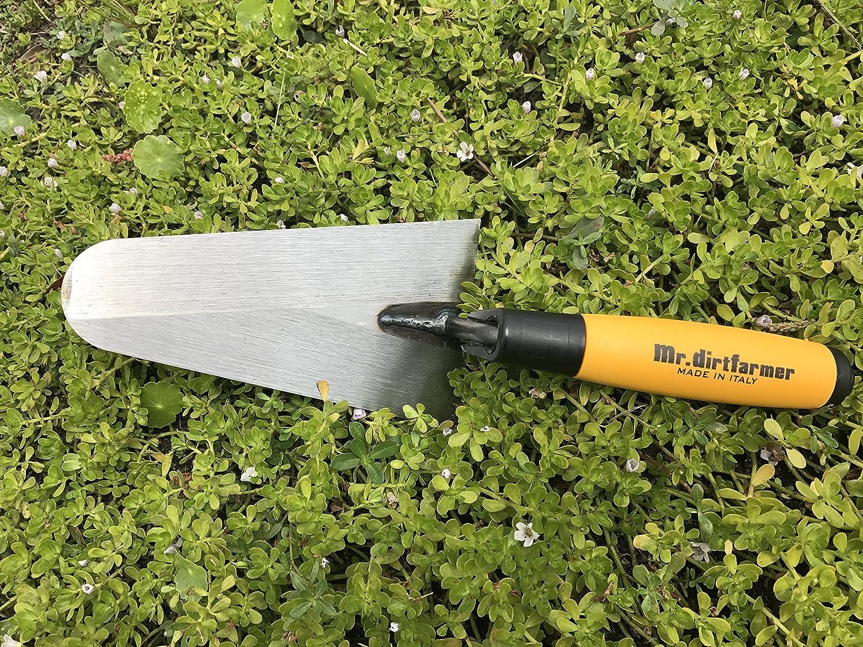 Dirtfarmer Carbon Steel Super Grip Garden Flat Trowel Cutting and More Mr Best Hand Trowel for Weeding Digging