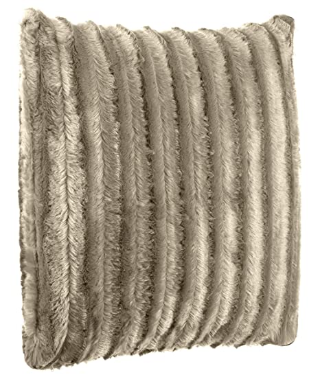 Beutissu – Cojín (imitación de pelo de cojín sofá cojín – Muy Suave y cálido – En Varios Motivos – Brand sseller, poliéster, marrón claro, 50 x 50 cm