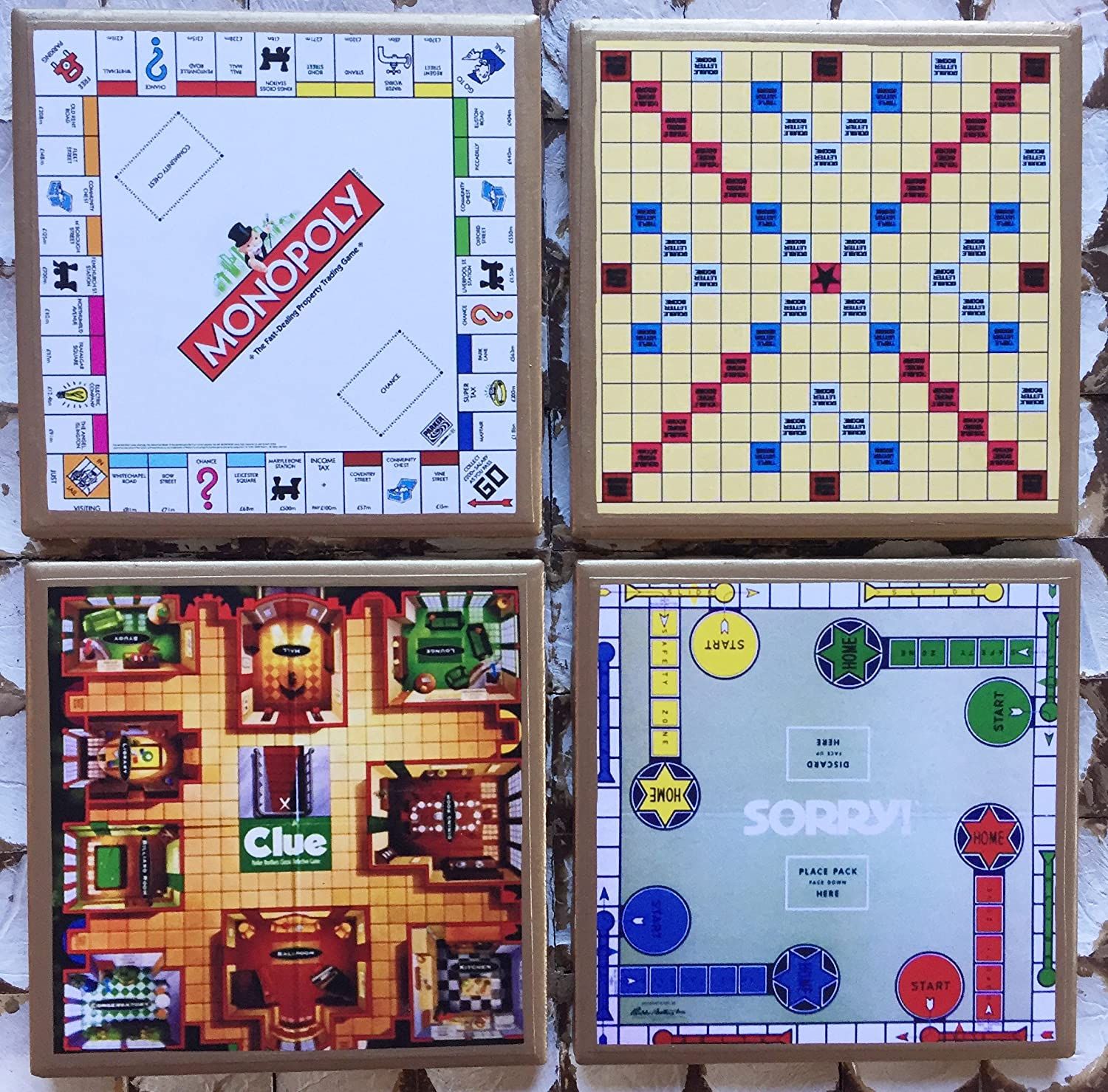 Retro game board coasters with gold trim