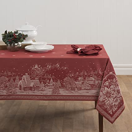 "Benson Mills Christmas Story Engineered Jacquard Fabric Tablecloth, 60"" by 120"" best Christmas tablecloths"