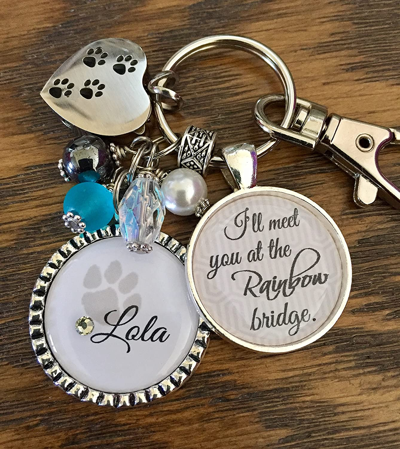 B06ZZDS4P3 Pet Loss Gift Pet Memorial Sympathy Gift Personalized Cremation keychain I'll meet you at the Rainbow bridge Remembrance fur baby A1y5hqsGt0L