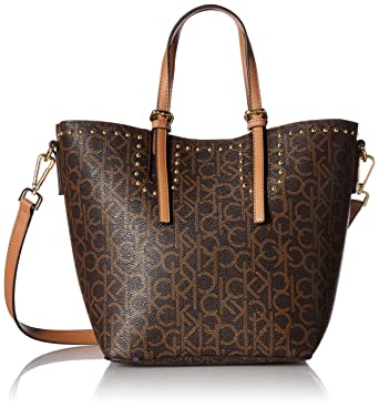 bd75b897a6 Amazon.com: Calvin Klein Jill Monogram East/West Tote, brown/khaki: Clothing