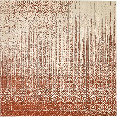 Unique Loom Del Mar Collection Contemporary Transitional Red Square Rug 8 0 x 8 0