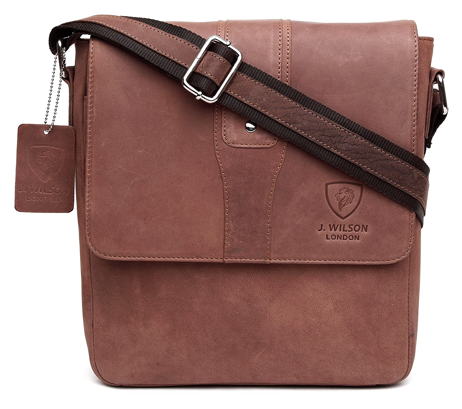 100% Pure Genuine Real Vintage Hunter Leather Handmade Mens Women Leather Flapover Everyday Crossover Shoulder Work iPad Messenger Bag (Distressed Brown)