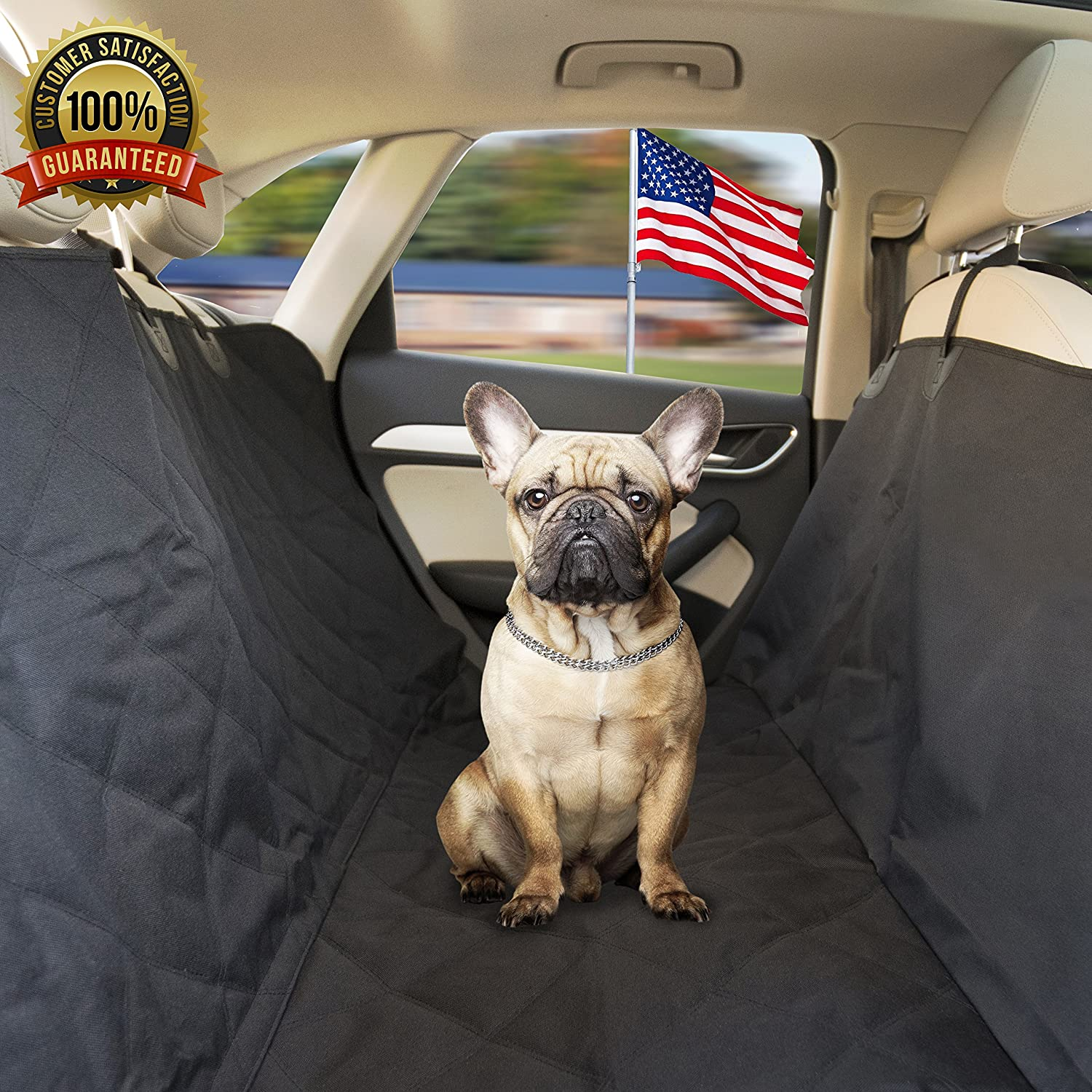 Pet-A-Bite Reliable Pet Car Seat Cover Free from Dog Hair on the Back Seat Waterproof Luxury Hammock Protector w Flaps Storage Bag. Vehicle SUV Puppy Comfort Accessory.