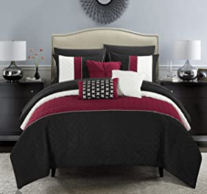 Chic Home Osnat 8 Piece Comforter Set Color Block Quilted Embroidered Design Bag Bedding – Sheets Decorative Pillows Sham Included, Twin, Black