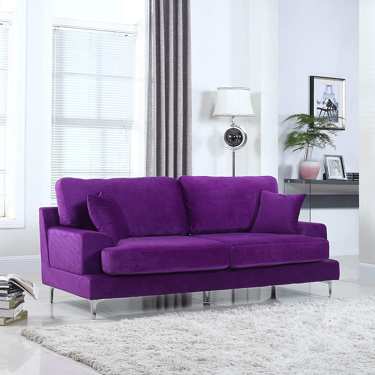 Amazon Ultra Modern Plush Velvet Living Room Sofa Purple