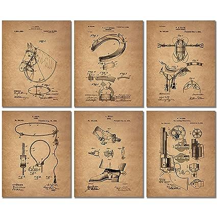 Cowboy Patent Art Prints   Set Of 6 Western Wall Decor 8x10 Photos Spurs  Colt Peacemaker