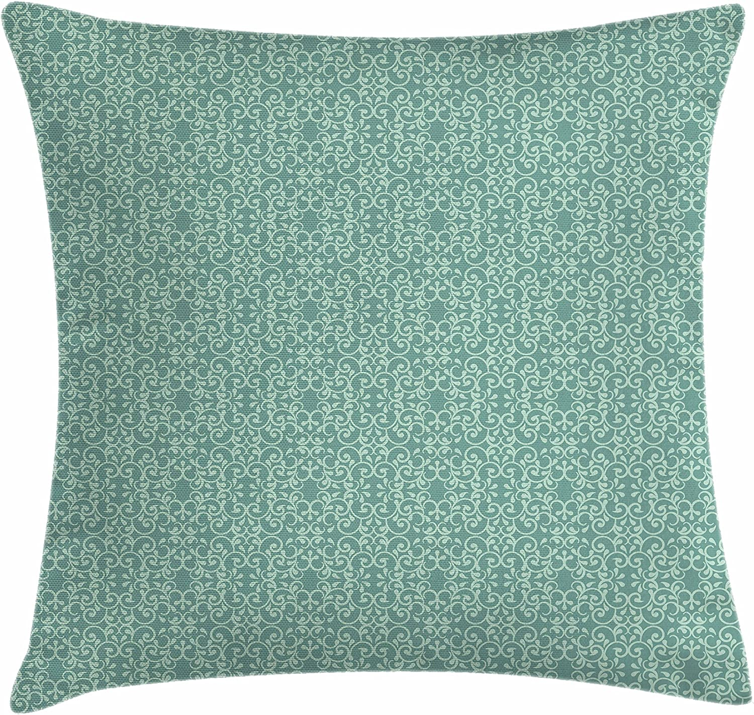 "Ambesonne Green Throw Pillow Cushion Cover, Vintage Style Victorian Garden Pattern Antique Design Old Fashion Ornaments, Decorative Square Accent Pillow Case, 24"" X 24"", Turquoise Seafoam"