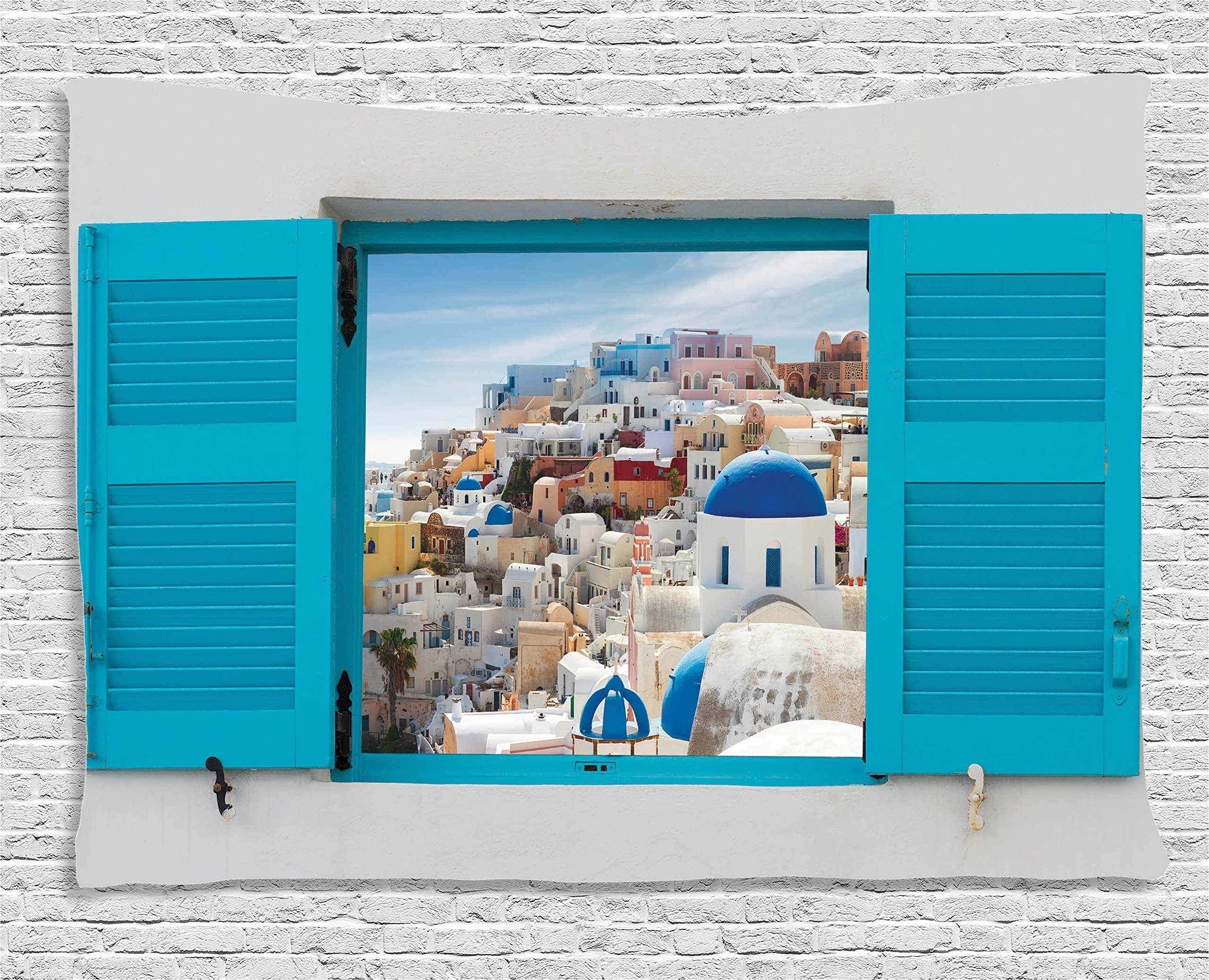 Ambesonne European Cityscape Tapestry Decor, Old Shutter Window with View of Traditional Greek Village Heritage Culture Deco, Wall Hanging for Bedroom Living Room Dorm, 80 X 60 Inches, Multi Color