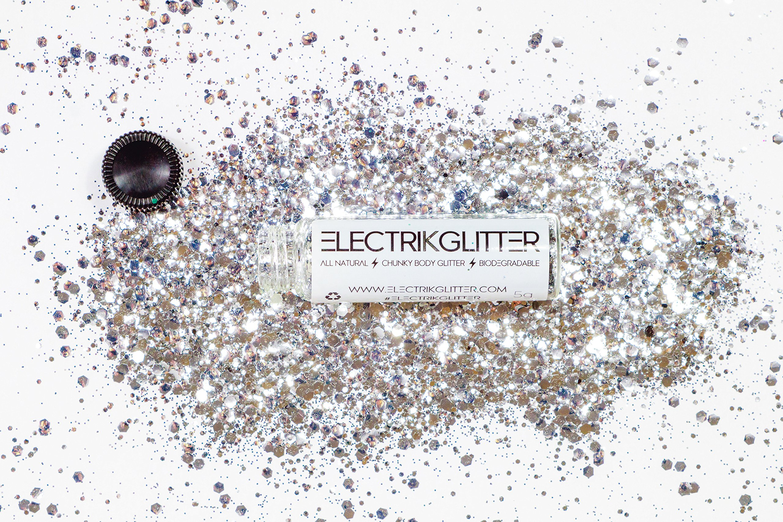 Electrik Glitter Biodegradable Body Glitter (5G) (Silver Sand Dollar) by Electrik Glitter (Image #3)