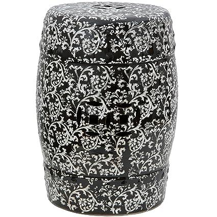 Oriental Furniture 18u0026quot; Black U0026 White Floral Porcelain Garden Stool
