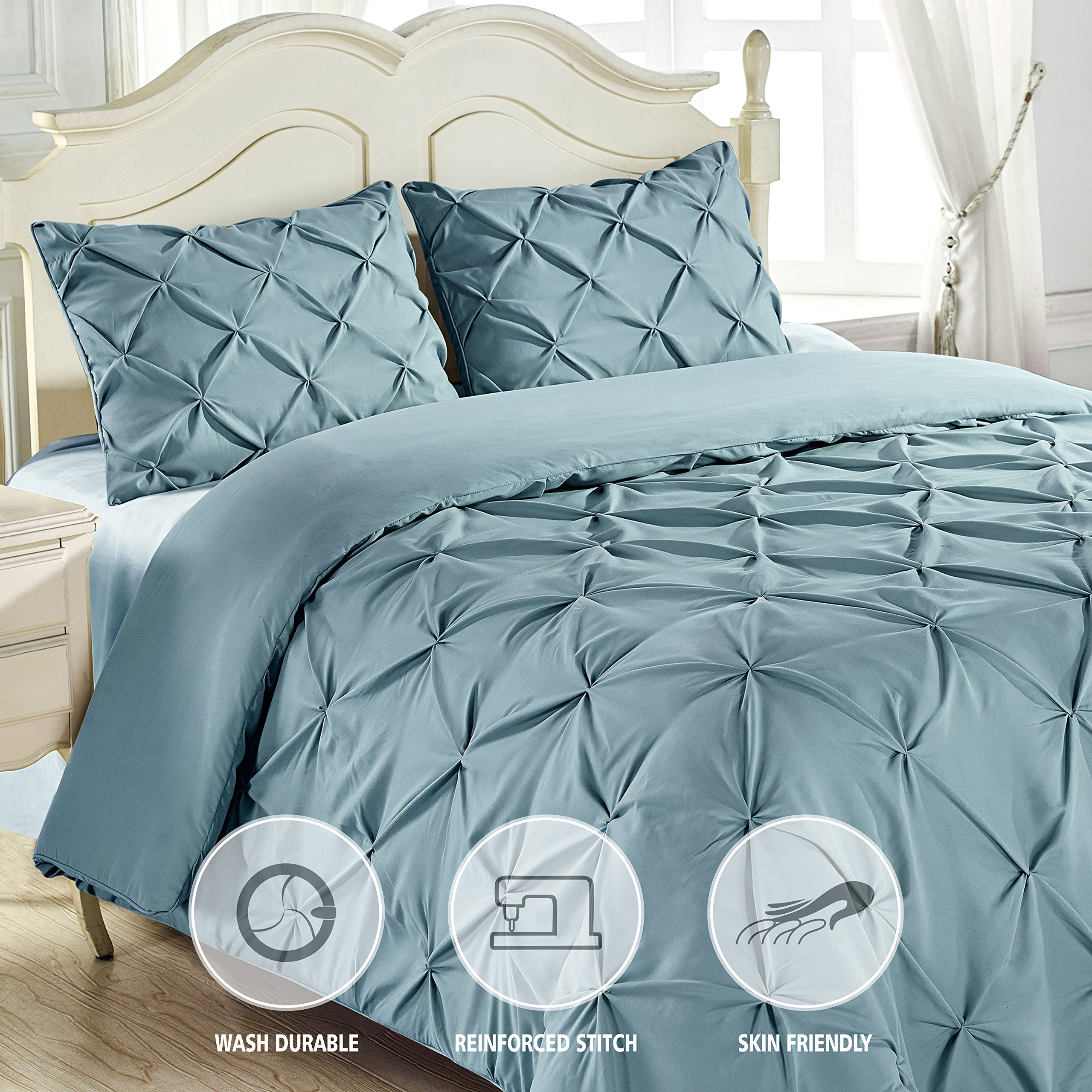 King & Queen Home Reinforced Double Stitch 3 Piece Pinch Pleat Comforter Set (Cali King, Spa Blue) by King & Queen Home (Image #3)
