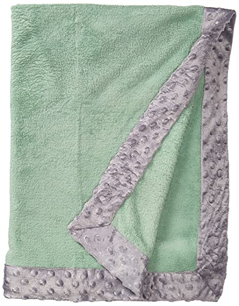 Bacati Bordered Plush Blanket, Solid Mint/Grey, 30