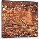 "3D Rose USA-Southwest-Indian Petroglyphs on Sandstone Wall Clock, 15"" x 15"""