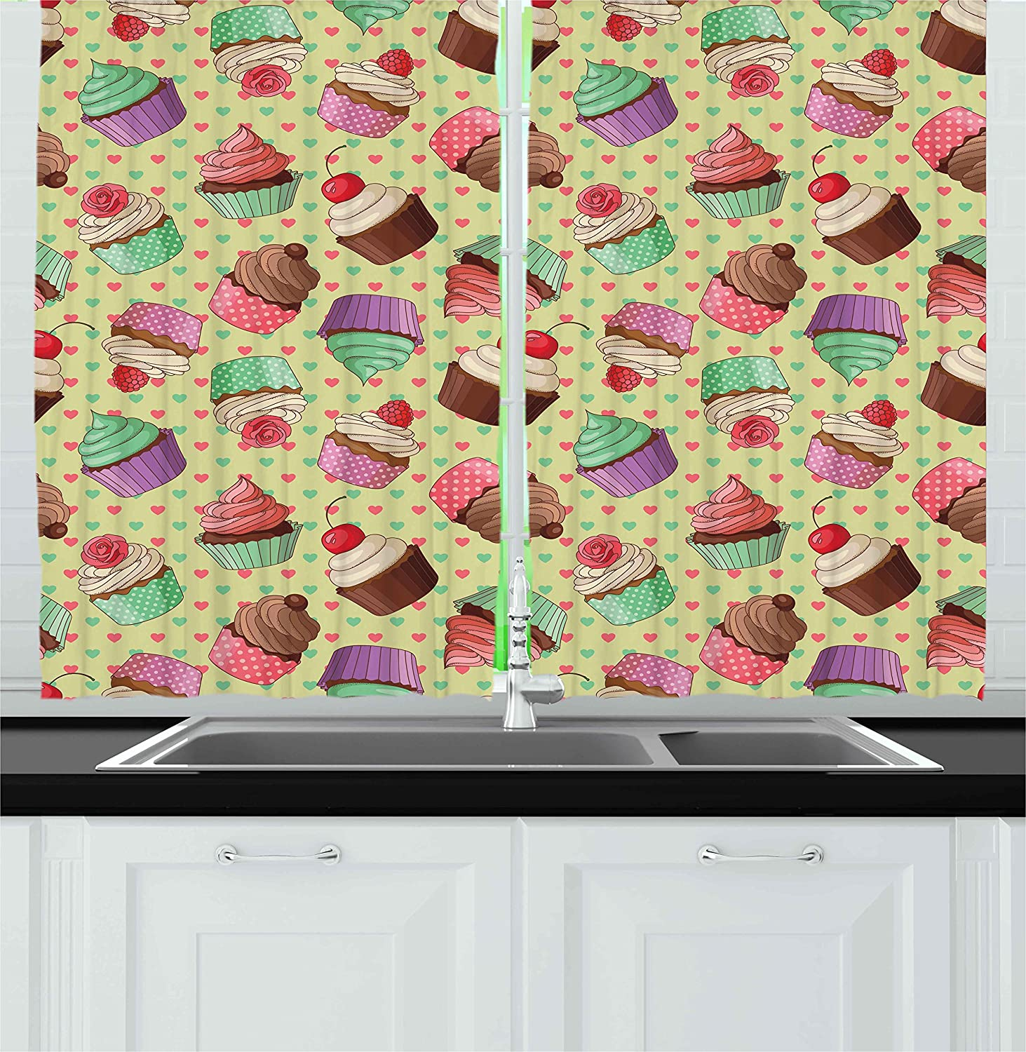Ambesonne Kitchen Decor Kitchen Curtains, Coffee Shop Bakery Inspired Cupcake Pattern on a Polka Dot Hearts Backdrop, Window Drapes 2 Panels Set for Kitchen Cafe, 55 W X 39 L inches, Multicolor
