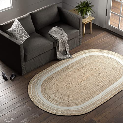 Stone Beam Contemporary Rikki Border Jute Rug, 5 x 8 Oval, White