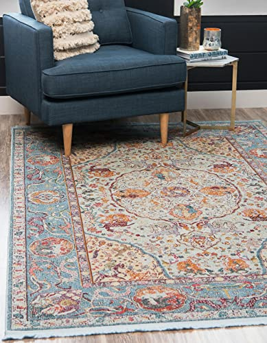Unique Loom Baracoa Collection Bright Tones Vintage Traditional Light Blue Area Rug 10' 0 x 13' 0