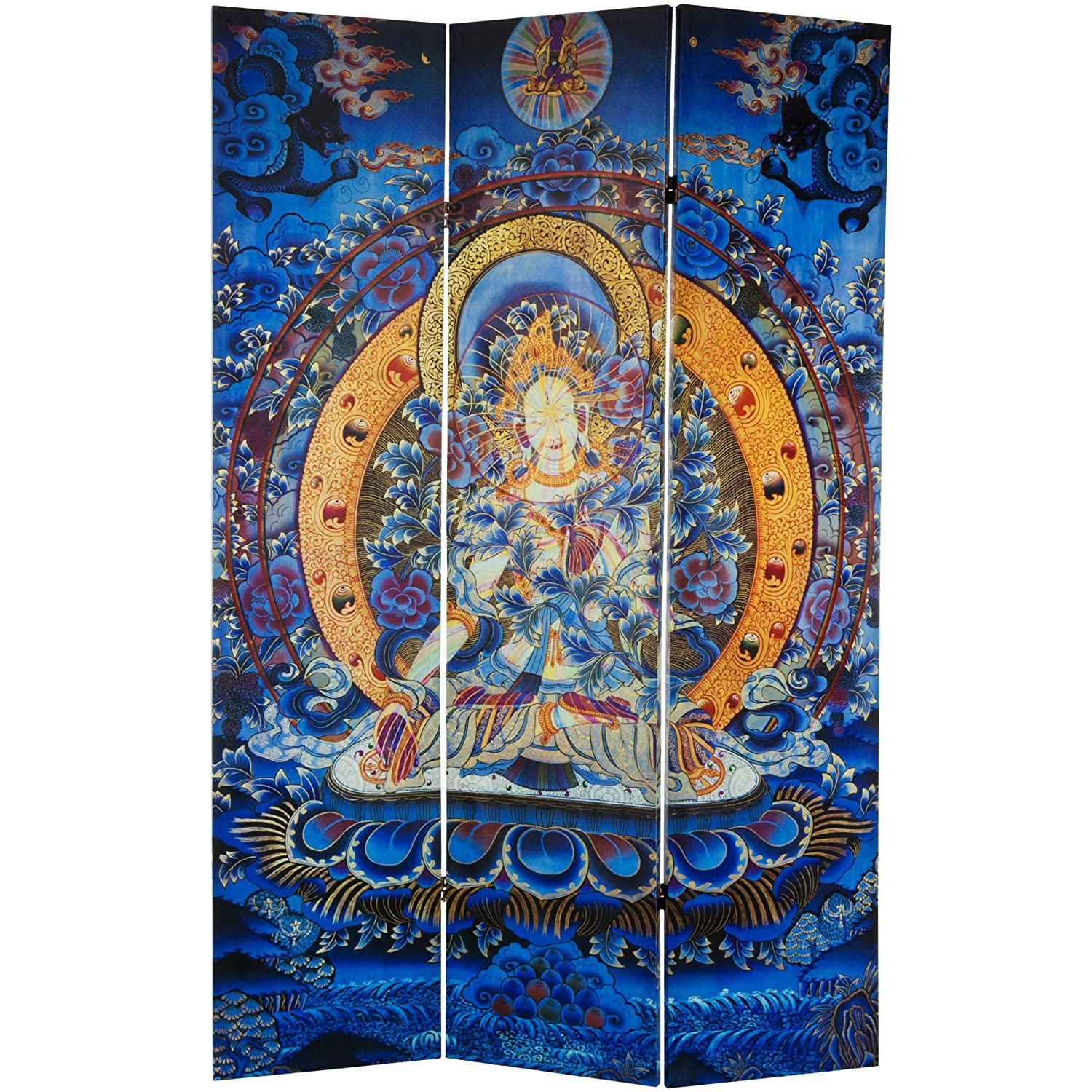 Oriental Furniture 6 Ft. Tall Radiant Tara Tibetan Double Sided Canvas Room Divider by Oriental Furniture