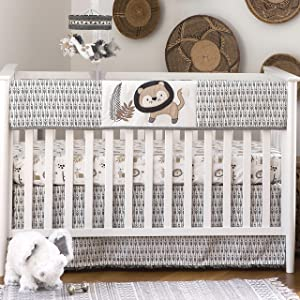 Levtex Baby - Tanzania Rail Guard - Appliqued and Embroidered Lion - Charcoal, Cream and Tan - Nursery Accessories - Fits Long Side of Standard Crib