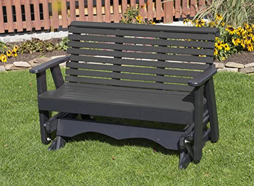 Ecommersify Inc 4FT-Black-Poly Lumber ROLL Back Porch Glider Heavy Duty Everlasting PolyTuf HDPE – Made in USA – Amish Crafted
